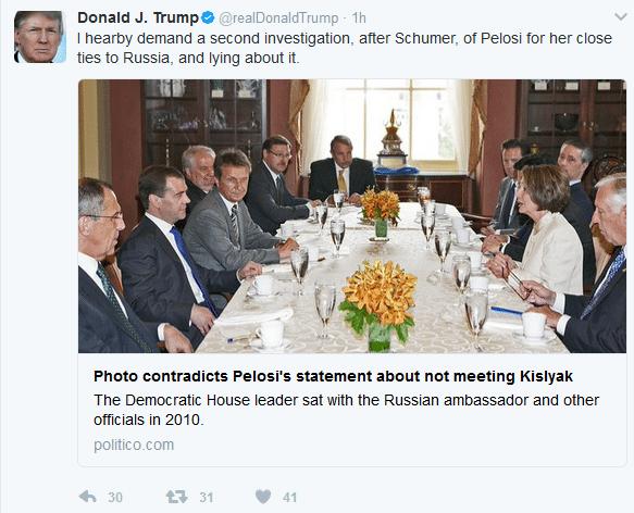 Trump tweet pelosi lie