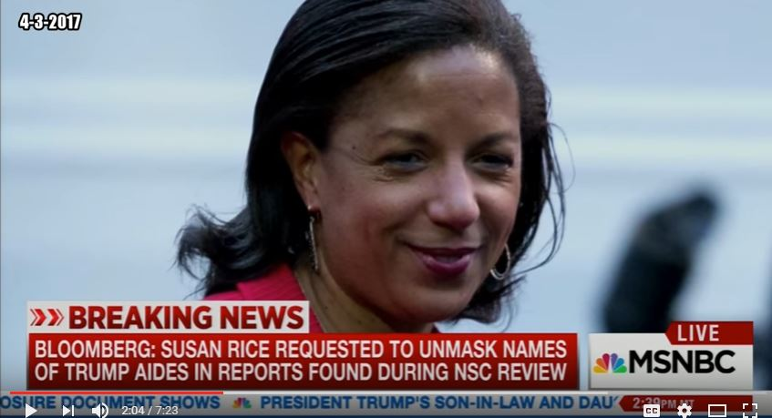Former national security adviser Susan Rice. (Screen snip, YouTube, MSNBC, Viewing Liberty)