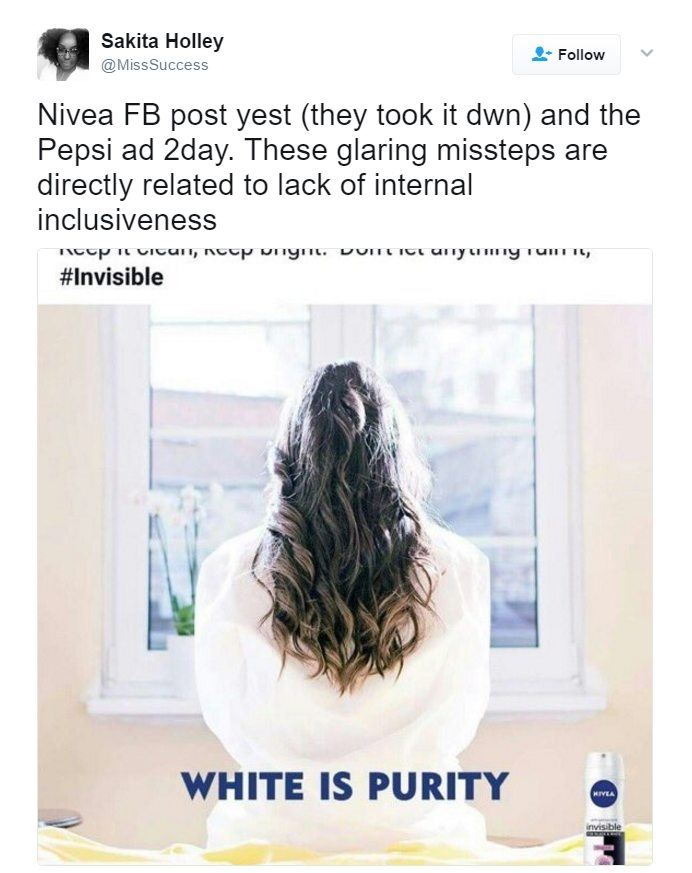 Nivea Pulls 'White Is Purity' Ad Due to Complaints by Leftists