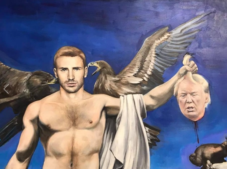 UAA displays painting that depicts Captain America holding the severed head of Trump
