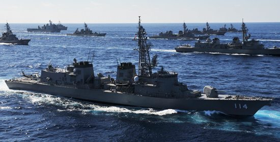 Japanese warships join American fleet. (Japan MoD)