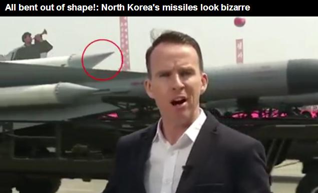 North Korea warhead - all bent outta shape. (Daily Mail video)
