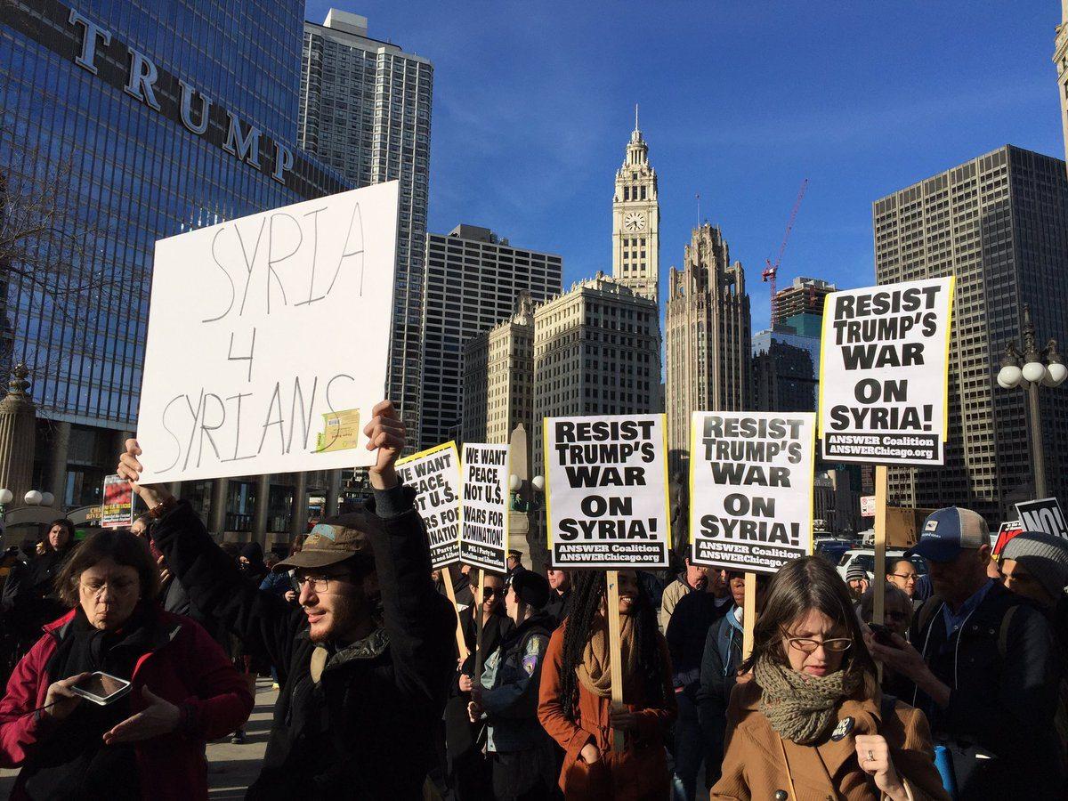 Trump Syria demonstrators anti-war protests Syria