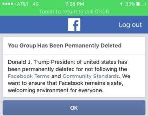 Trump Facebook deletes group