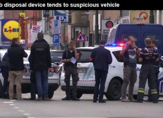 Police in Brussels open fire on a car 'with explosives inside'