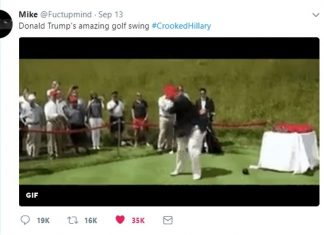 Trump Retweets GIF of Him Hitting Clinton with Golf Ball, Liberals Cry