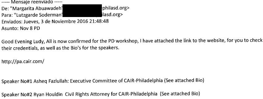 CAIR Caught Conducting Sensitivity Training for Philadelphia Teachers