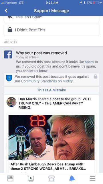 Facebook false ban