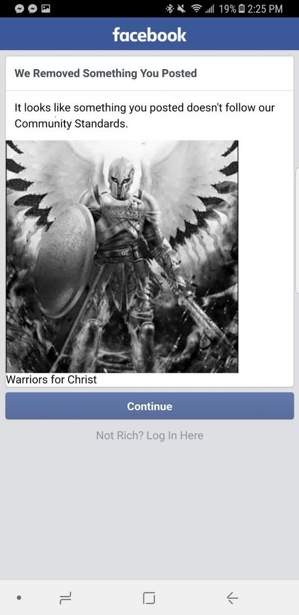 Facebook ban Warriors for Christ