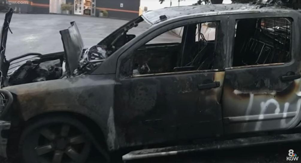 Trump truck burn