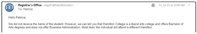 email Response from Hamilton College