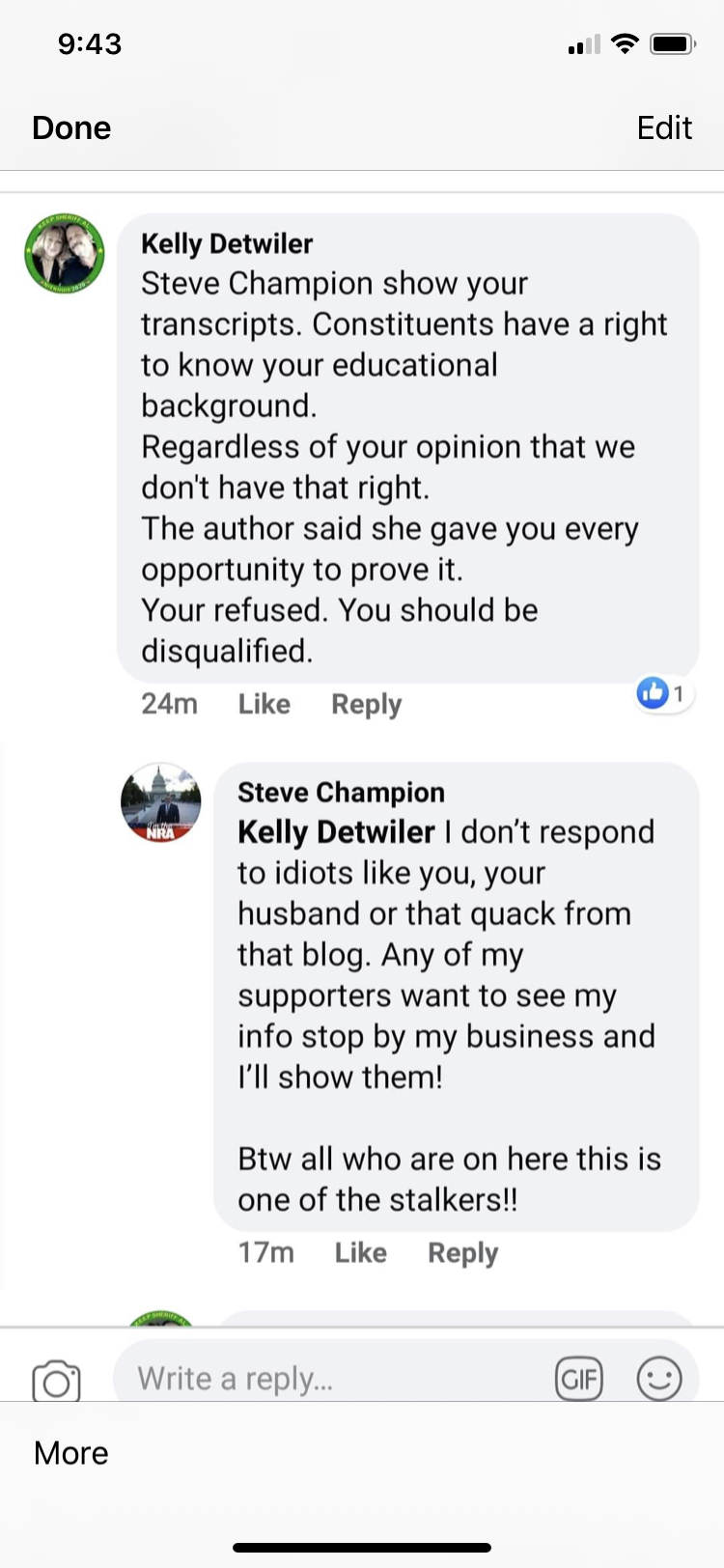 Steve Champion's disrespectful response to a constituent asking questions.