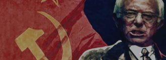 Soviet flags fly proudly at DNC convention march