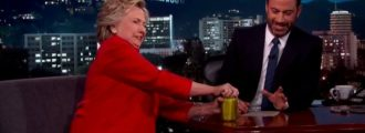 Hillary proves she's 'healthy' by opening pre-opened jar of pickles on 'Jimmy Kimmel Live'