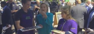 Clinton scarfs down chocolate rather than answer questions (Video)