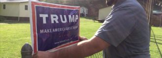 Man tries to steal Trump yard sign, gets electrocuted — Video