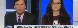 Tucker Carlson shreds 'Refuse Fascism' organizer who claims Trump more dangerous than Hitler