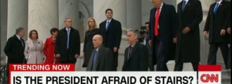 CNN floats conspiracy theory that Donald Trump is afraid of stairs