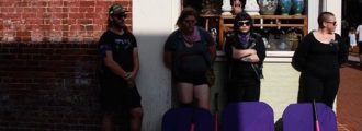 Antifa crazies show up at Heather Heyer funeral with pink baseball bats, shields